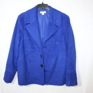 Coldwater Creek cobalt blue button front wool coat